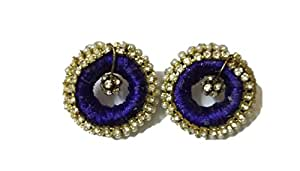 Priya Multi Colour Silk Thread Stud Earrings for Women P003