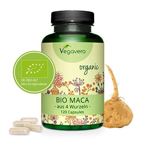Maca Andina Vegavero® | 3000 mg | ORGÁNICA y SIN ADITIVOS | La Única TESTADA en Laboratorio | Estimulante Natural + Energía + Fertilidad + Vigorizante | 120 Cápsulas | Combina las 4 Raíces