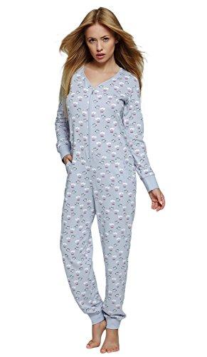 SENSIS Edler Schlafanzug-Overall Jumpsuit mit Bündchen und praktischem Reißverschluss, hellgrau, Gr. S/M (36/38) -
