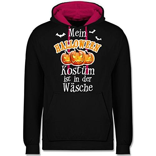 Shirtracer Halloween - Mein Halloween Kostüm ist in der Wäsche - S - Schwarz/Fuchsia - JH003 - Kontrast Hoodie