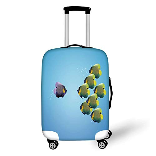 Travel Luggage Cover Suitcase Protector,Aquarium,Purple Angelfish Leading The Yellow Group Be Different Inspirational Decorative,Light Blue Yellow Purple,for TravelM 23.6x31.8Inch -