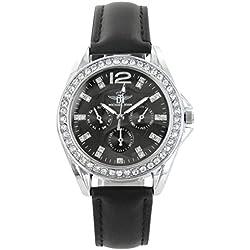 Damen Trend Armbanduhr Leder schwarz Diamanten CZ Michael John 1397