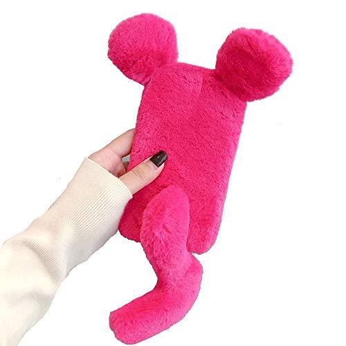 Miagon Maus Schwanz Handyhülle für Huawei P10,Super Weich Winter Warm Lustig Kunstpelz Plüsch Fluffy Flexibel Handytasche Schale Case,Rose Rot