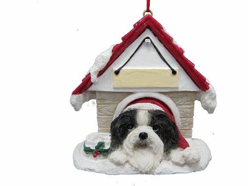 """Shih Tzu schwarz und weiß Schmuck ein tolles Geschenk für Shih Tzu Eigentümer handbemalt und einfach personalisierten """"Doghouse"""" Ornament mit magnetischer Rückseite"""