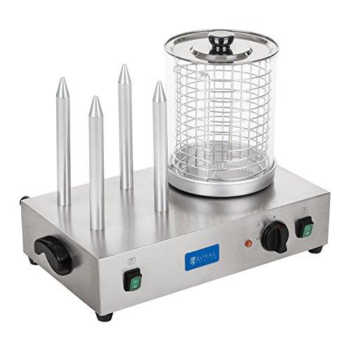 Royal Catering - Hot Dog Maker Hot Dog Gerät mit Toasterstangen ( 2 x 3.000 W, 0 °C - 95 °C, Ø20 cm, 24 cm Zylinderhöhe, Edelstahl) Silber