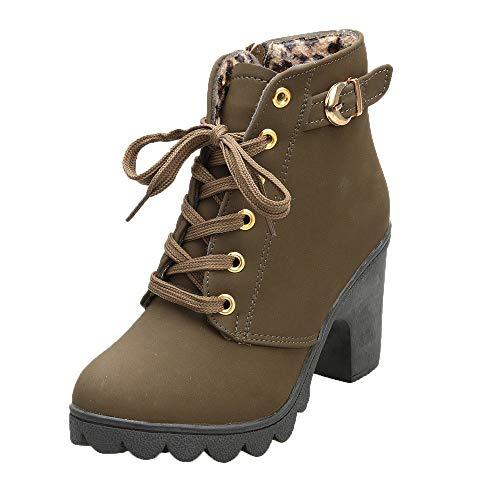 POLP Botines de Tacón Mujer Tacón Grueso Botines de tacón Alto con Cordones Zapatos de Plataforma...