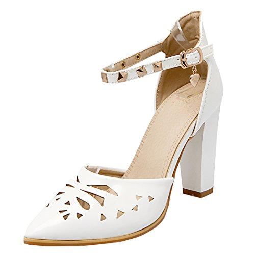 YE Damen Spitze Knöchelriemchen Cut Out Pumps Lackleder Blockabsatz High Heels mit Nieten Schnalle und 10cm Absatz Elegante Schuhe Weiß
