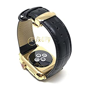 24K Gold 42MM Apple Watch Series 3 with Black Leather Band GPS+LTE
