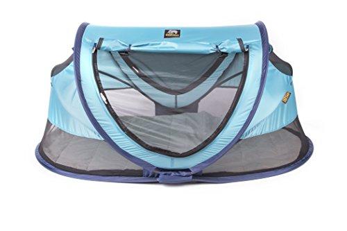 Deryan Reisebett/Travel-cot Peuter Reisebettzelt inklusive Schlafmatte, selbstaufblasbarer Luftmatratze und Tragetasche mit Pop-Up innerhalb 2 Sekunden aufgebaut, ocean/blue