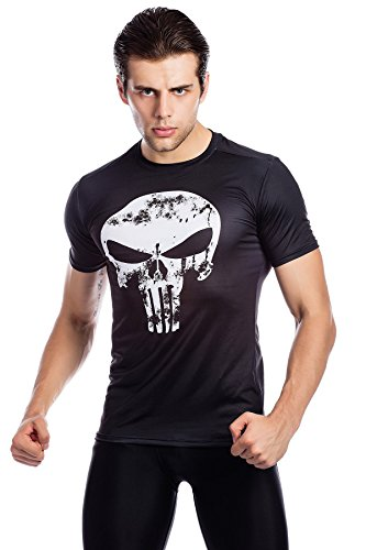 Cody Lundin Männer Fitness T-Shirt Männer Kompression laufen Bewegung Training Shirt Herren Schädel gedruckt Kurzarm (Gedruckt Schädel)