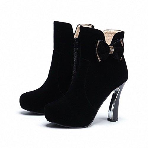 VogueZone009 Donna Punta Tonda Tacco Alto Alla Caviglia Puro Stivali con Cappio Nero