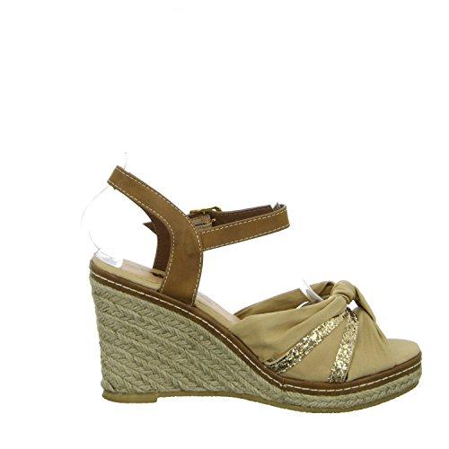 living Updated K823-27 Damen Sandalette eleganter Boden Beige (Beige)