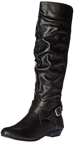Fergalicious Lara Rund Kunstleder Mode-Knie hoch Stiefel Black