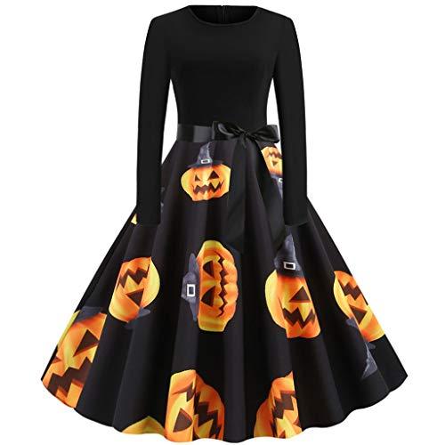 Trisee Damen Halloween Kostüm Lange Ballkleid 50er Jahre Hausfrau Abend Party Prom Kleid Retro Kleid große größen Festliche Kleider Hepburn Stil Traditionelle - 80 Prom Kleider Kostüm