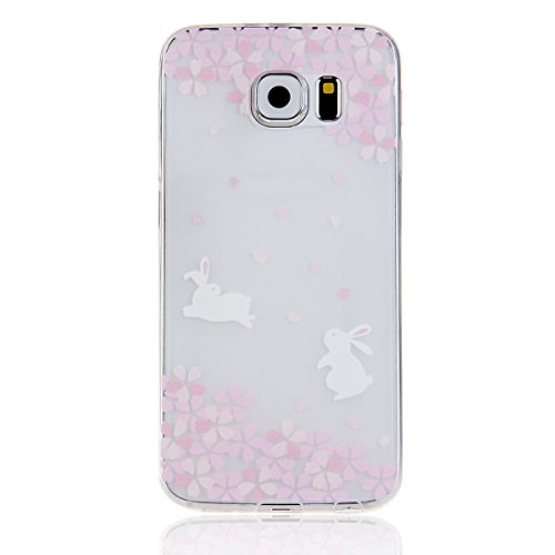 Coque pour iPhone 6 Plus, iPhone 6 Plus Silicone Coque Transparent Etui Housse, iPhone 6s Plus Coque en Silicone Souple Housse, iPhone 6 Plus Soft Case Clear Cover, Ukayfe Etui de Protection Cas en ca Cerise Lapin