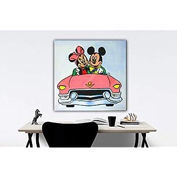 Original Gemälde Acryl auf Leinwand und Holzkeilrahmen – Micky und Minni – 50 x 50 cm – Handgemalt