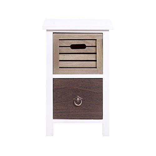 Rebecca srl comodino cassettiera 2 cassetti urban legno bianco marrone vintage shabby camera da letto bagno (cod. re4314)