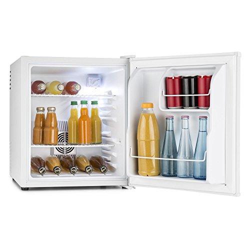 Klarstein • MKS-8 • Minibar • Mini-Kühlschrank • Getränkekühlschrank • A • 40 Liter Volumen • leiser Betrieb • 30 dB • ca. 43 x 51 x 48 cm (BxHxT) • 2 Regaleinschübe • Seitenfächer für Flaschen • 3-stufiger Temperaturregler • matt-weißes Gehäuse • weiß