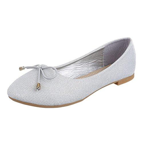 Damen Schuhe, A-116, BALLERINAS PUMPS Silber