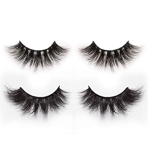 Ciglia finte 3d e 4d da artificiali capelli di visone,confezione di 2 paia,ciglia finte lunghe,spesse e attraenti in stile drammatico e naturale