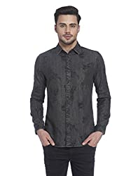 Jack & Jones Mens Casual Shirt (5713444437381_12121096Black Denim_Large)