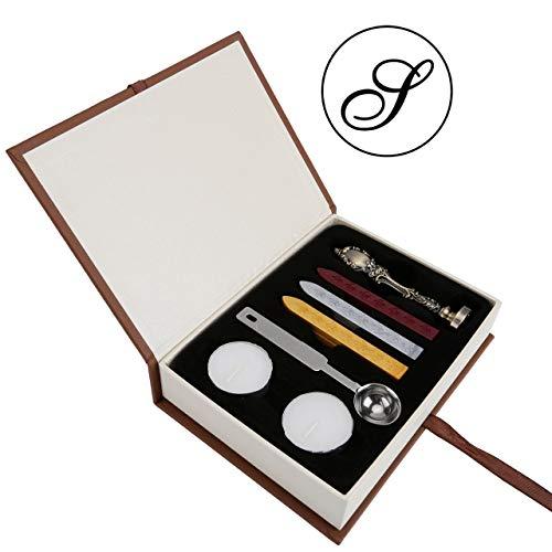 Wachs Siegel Stempel Set, yoption Classic Vintage Style Messing Farbe Antik Alphabet Buchstabe Siegelwachs Stempel Set, Retro Seal Briefmarken Maker Geschenk-Box-Set, ideales Geschenk S