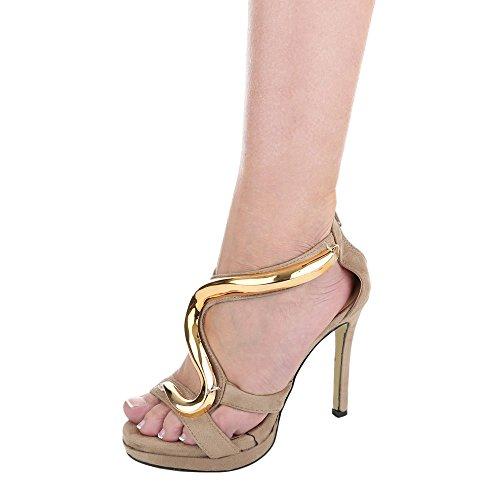 High Heel Sandaletten Damenschuhe Plateau Pfennig-/Stilettoabsatz High Heels Reißverschluss Ital-Design Sandalen / Sandaletten Beige