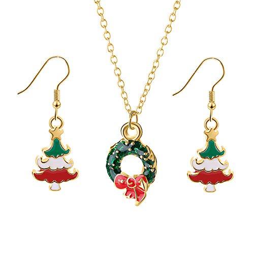 Accessorisingg Christmas Wreath Pendant and Tree Earrings Set [PS021]