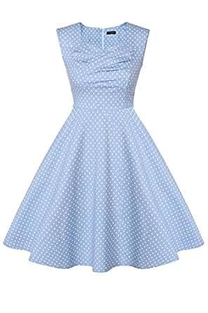 ACEVOG Damen 1950er Vintage Abendkleider Blau Gr. 36