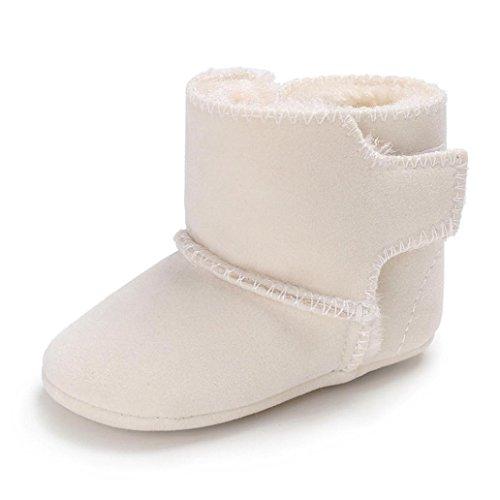 LCLrute Qualität Mode Neugeborenes Baby Flauschige Samt Schuhe Soft Sole Krippe Kleinkind Anti-Rutsch (11, Weiß)