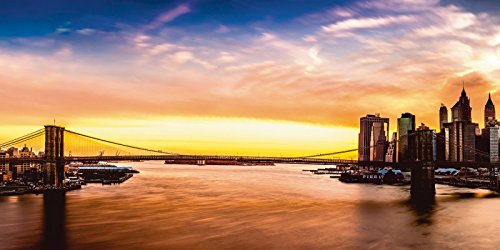 Artland Poster oder Leinwand-Bild gespannt auf Keilrahmen mit Motiv mandritoiu Brooklyn Bridge Panorama im Sonnenuntergang Städte Amerika NewYork Fotografie Orange - Bridge-foto-bearbeiten