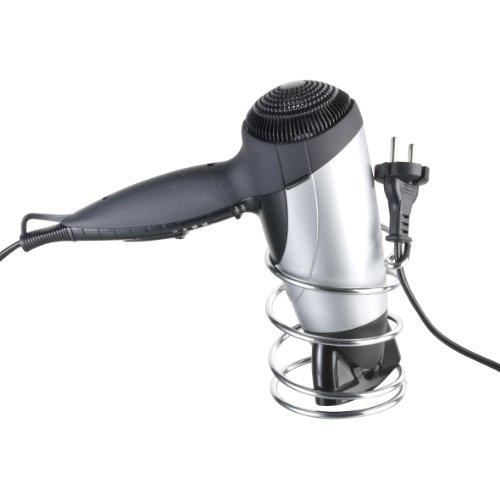 axentia Haartrocknerhalter Escala silber verchromt, optisch ansprechendender Föhnhalter mit Haken, praktische Föhn Halterung inklusive Befestigungsmaterial