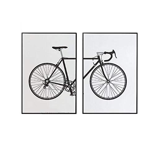 YSDS-JZ 2 StüCke Cartoon Fahrrad Wandkunst Malerei Bild Druck Leinwand Architektonische Kunstwerk Bild FüR Moderne Dekoration des Home-Office,40 * 50CM*2