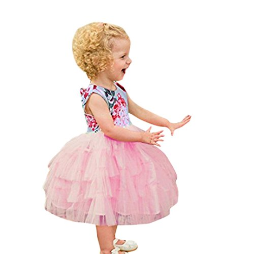 Trada Kleider, Kinder Mädchen Kleid Floral Backless Brautjungfer Festzug Party Prinzessin Hochzeitskleid Halter Mesh Tutu Rock Kleid Ballettanzug Ballettkleid Ballett Trikot Turnanzug (80, Rosa) (2 Kleinkind Halloween Kostüme)