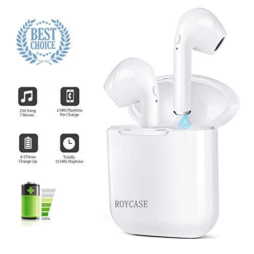 Wireless Bluetooth Headset V4.2 Bluetooth Headset Wireless In-Ear-Kopfhörer Stereo-Mini-Kopfhörer wasserdicht Geräuschunterdrückung mit Ladekoffer und eingebautem Mikrofon