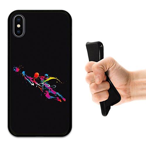iPhone X Hülle, WoowCase Handyhülle Silikon für [ iPhone X ] Schwarzer Basketballspieler Handytasche Handy Cover Case Schutzhülle Flexible TPU - Schwarz Housse Gel iPhone X Schwarze D0007