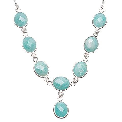 stargems (TM) natürliches blau Aquamarin handgefertigt Einzigartig 925Sterling Silber Y Halskette (Natürliche Aquamarine Kristall)