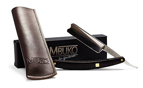 Rasoio in acciaio inossidabile con manico di alta qualità in ebano - set per principianti e avanzati - con custodia in pelle