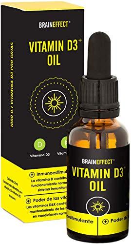 BRAINEFFECT Vitamina D3 y K2 líquida | 1000 UI / 25 µg por gota | 20 ml | Disuelta en aceite de MCT | Vegetariano | Hecho en Alemania