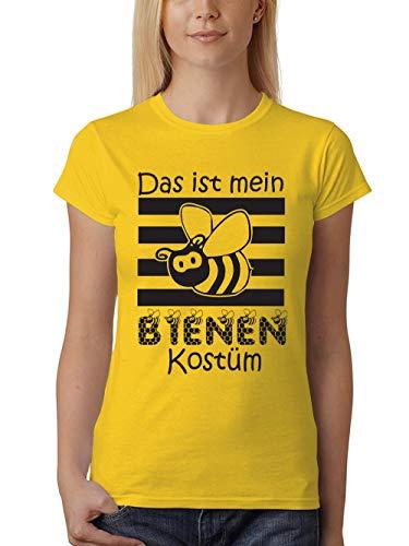 clothinx Karneval Das Ist Mein Bienen Kostüm Damen T-Shirt Unisex Gelb Gr. XXL
