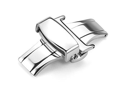 iStrap 18mm Edelstahl Faltschliesse Dornschließe Schließen Schnalle Klapp-Verschluss für Uhrenarmbänder Uhrband