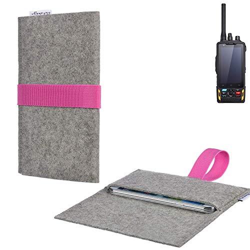 flat.design Handy Tasche Aveiro mit Filz-Deckel und Gummiband-Verschluss für Ruggear RG760 - Sleeve Case Etui Filz Made in Germany hellgrau rosa - passgenaue Handyhülle für Ruggear RG760