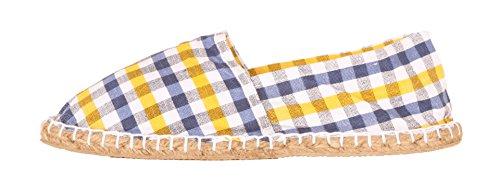 Espadrilles Sommerlatschen, im Karo - Design, Unisex, SL1413 mehrfarbig (blau-gelb)