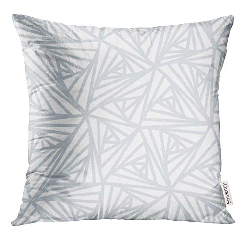 Ikat Kissen-abdeckung (Throw Pillow Cover Gray Frosty Abstract Line Geometric Light White and Grey Winter Ice Decorative Pillow Case Home Decor Square 18x18 Inches Pillowcase)