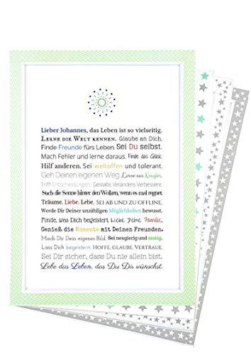 Personalisierbares Geschenk zur Firmung, Erstkommunion, Jugendweihe, Kommunion u. Konfirmation | Bild für Jungen | kreative Verpackung für Geldgeschenk, Kunstdruck, DIN A4, Poster