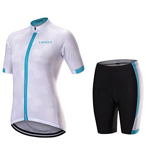 Lixada Damen Gehender Reißverschluss Kurzarm Fahrradtrikot Hemd Radfahren Kleidung Set Sport