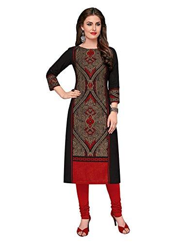 Ishin Cotton Black Printed Women Unstitched Kurti/Kurta Fabric (Only Kurta/Top Fabric).