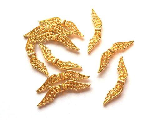 Angel Malone 10 x 32 mm, colore: oro, motivo: fata con ali di angelo custode, con perline spaziatrici