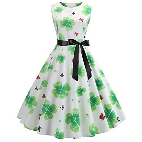 DEELIN St. Patrick's Day Damen Vintage 50er Jahre Retro Shamrock Ärmelloses Abschlussball Swing Dress