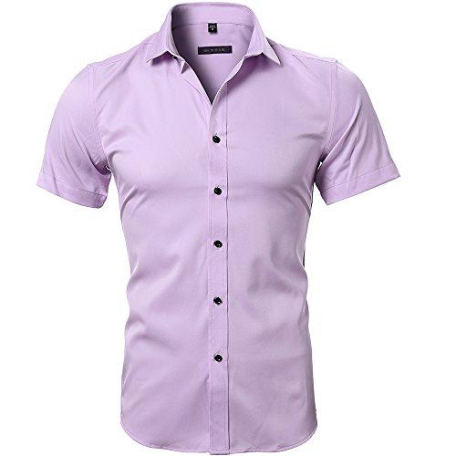 HARRMS Herren Hemd Slim Fit Kurzarm Für Business Hochzeit Freizeit Bügelleicht/Bügelfrei Bambusfaser,Pink,L - EU 42 (Rosa Slim Fit Hemd)